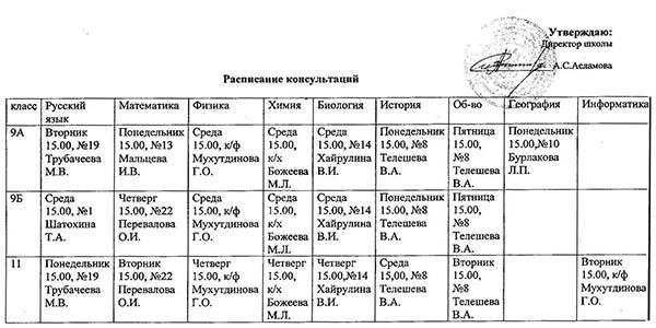 Расписание консультаций подготовки к ЕГЭ и ОГЭ